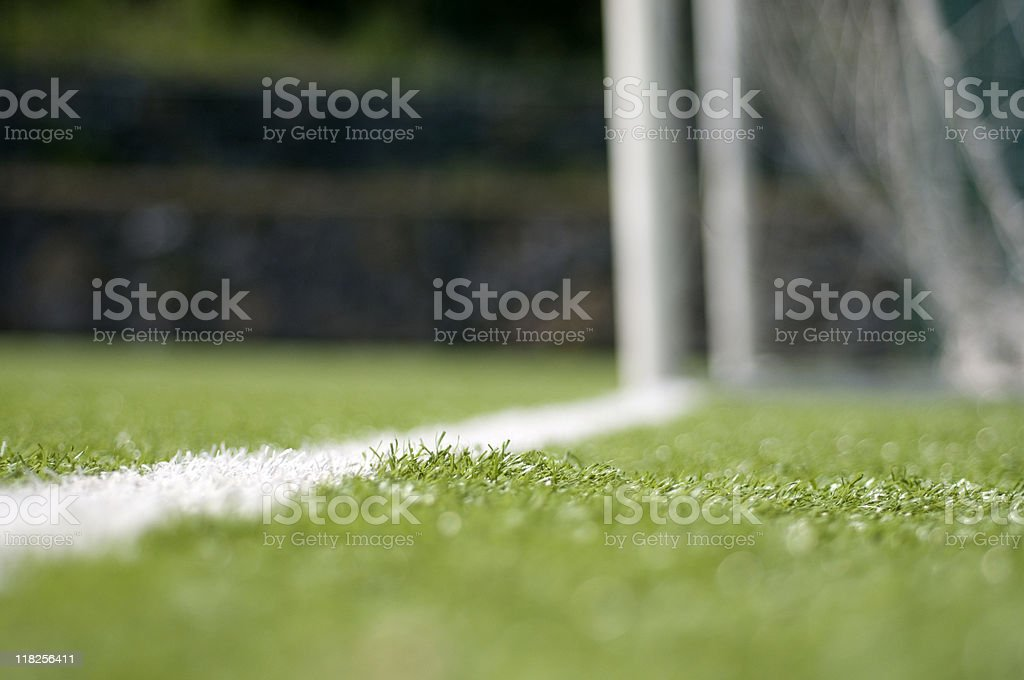 Soccer goal on field with marking lines, Turkey, Istanbul royalty-free stock photo