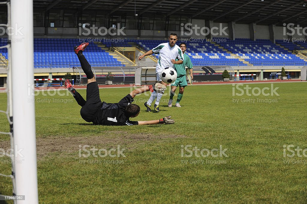 Soccer goalie action royalty-free stock photo