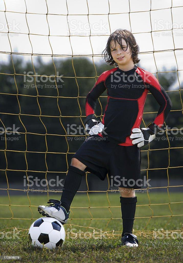 soccer goalie in goal royalty-free stock photo