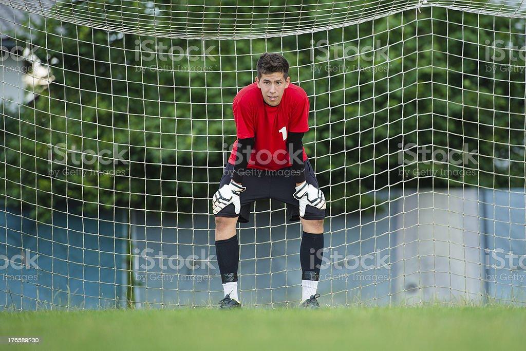 Soccer goalie ready for defense royalty-free stock photo