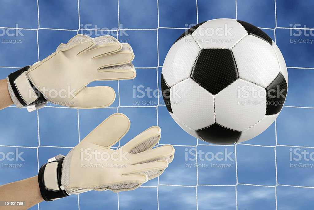 Soccer goalie's hands in action royalty-free stock photo