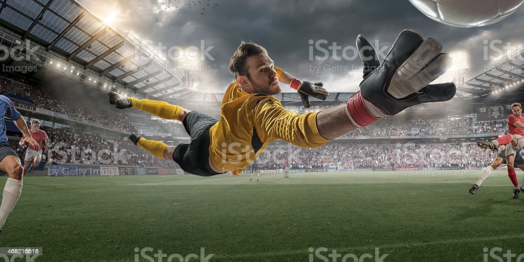 Soccer Goalkeeper Extreme Close Up Action stock photo