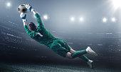 Soccer Goalkeeper in a jump