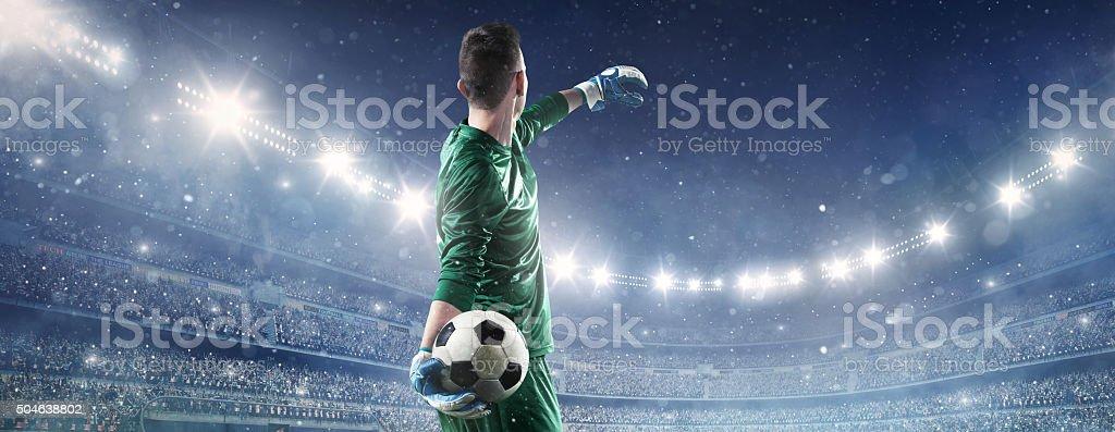Soccer goalkeeper in action stock photo