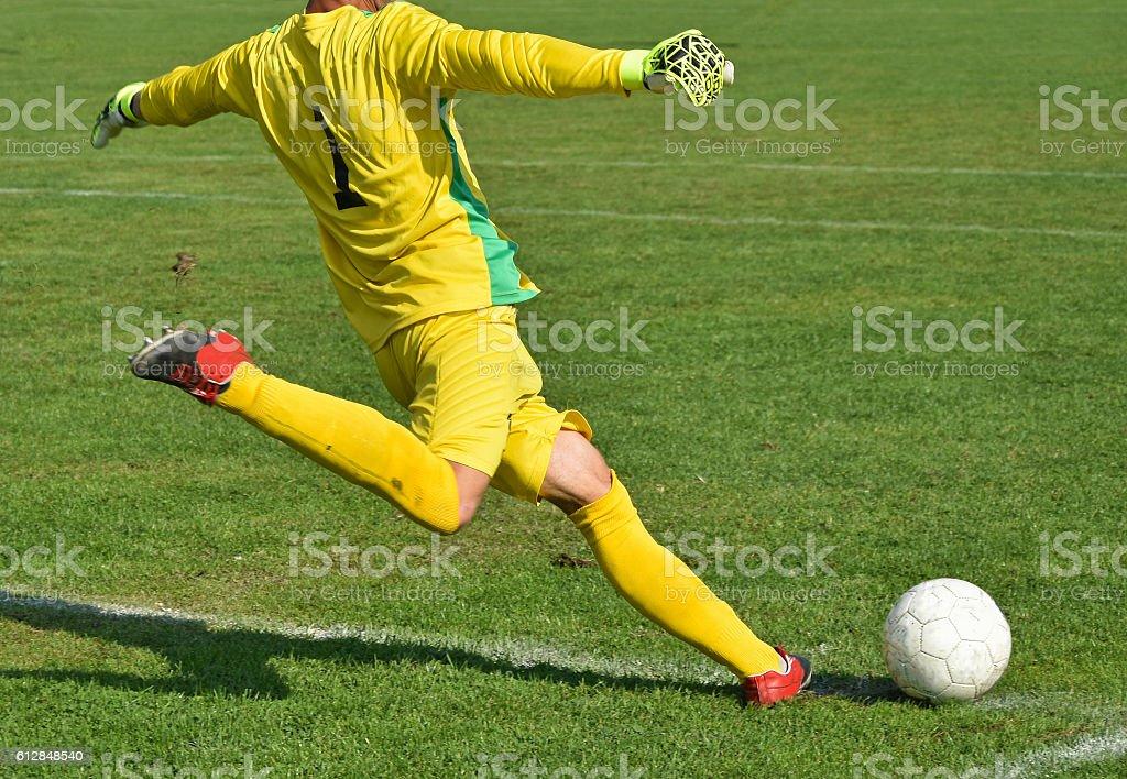 Soccer goalkeeper kicks the ball stock photo