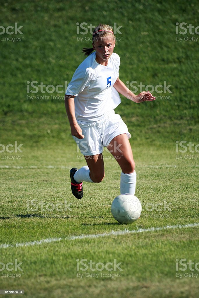 Soccer Heads Up with copyspace royalty-free stock photo