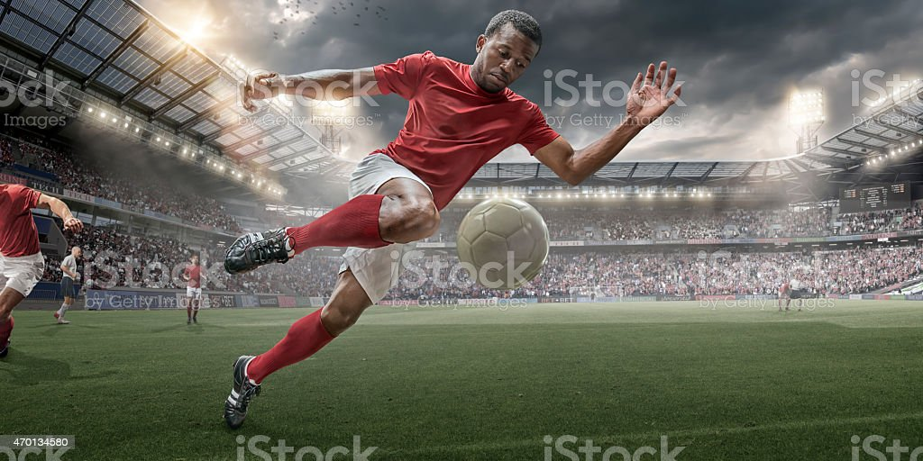 Soccer Hero In Action stock photo
