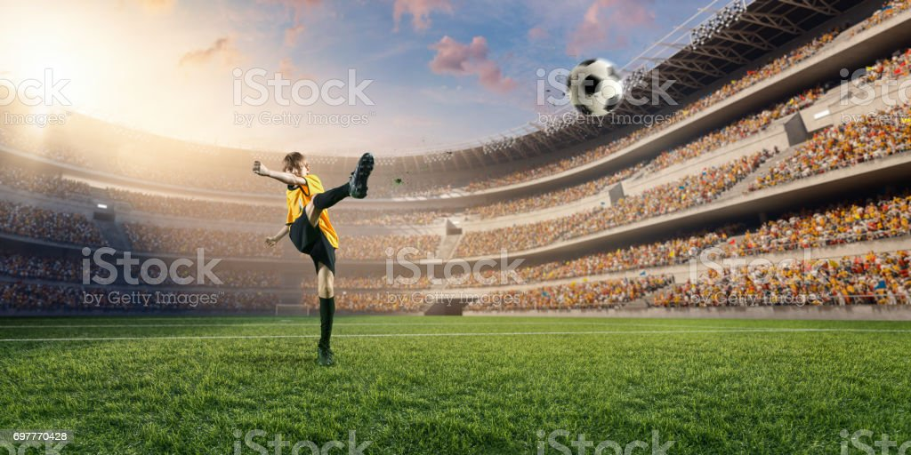 Soccer kids player in action in 3D dramatic stadium stock photo