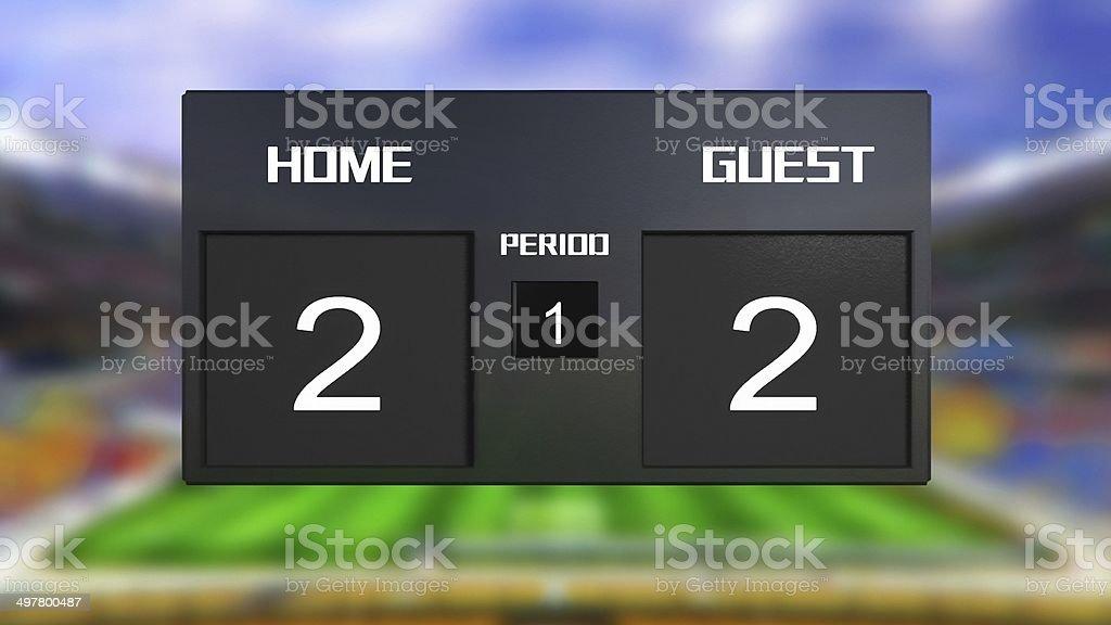 soccer match scoreboard Draws 2 & 2 stock photo