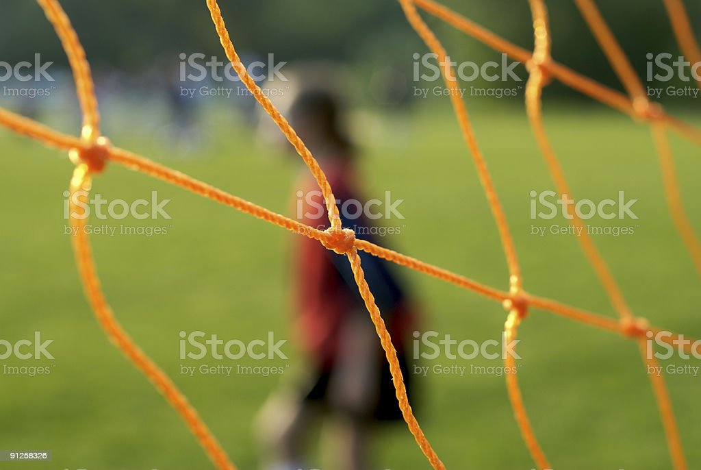 Soccer net and goalie royalty-free stock photo