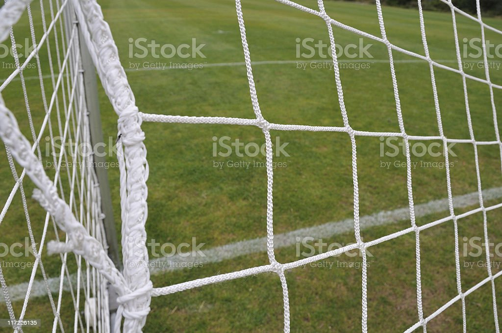 Soccer net on football field royalty-free stock photo
