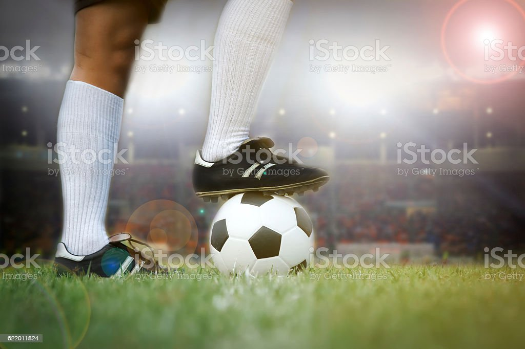 soccer or football player standing with ball on the field stock photo