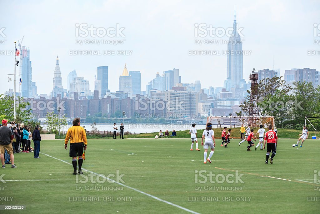 Soccer Play At Brooklyn stock photo