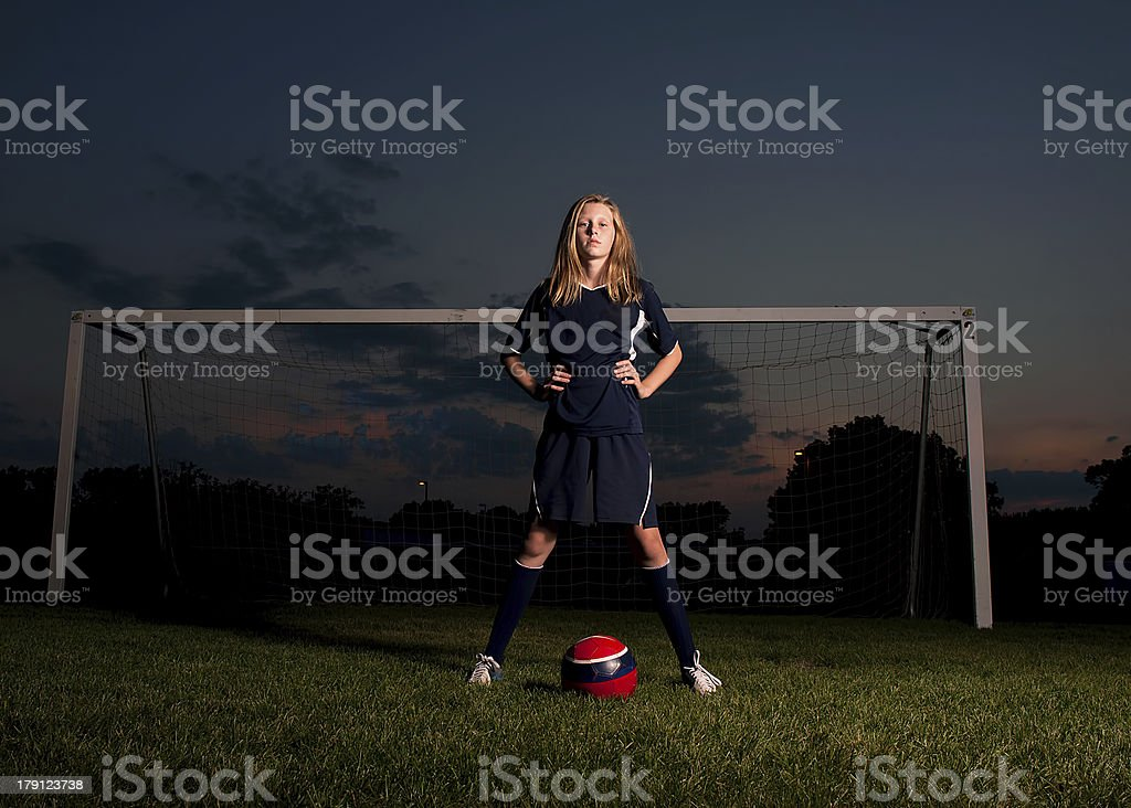 Soccer Player at Sunset stock photo