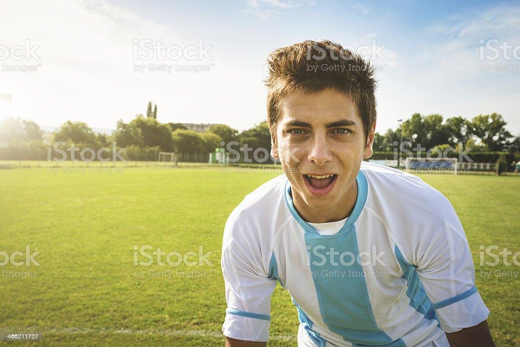 Soccer player exultation royalty-free stock photo