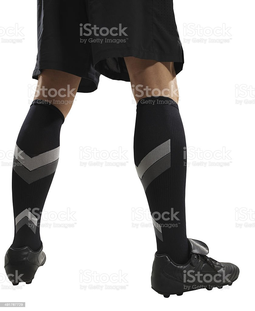 Soccer player feet isolated royalty-free stock photo