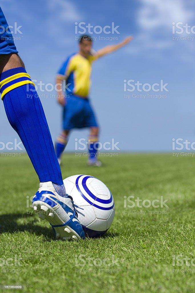 Soccer player hitting the ball. royalty-free stock photo