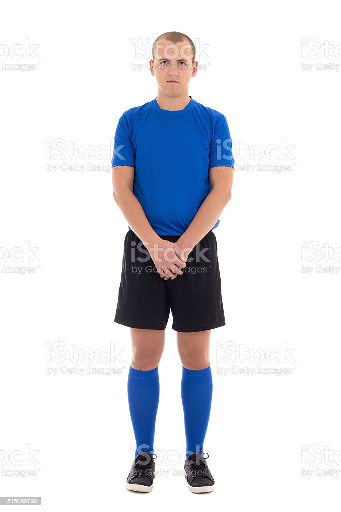 soccer player in blue uniform full length isolated on white stock photo