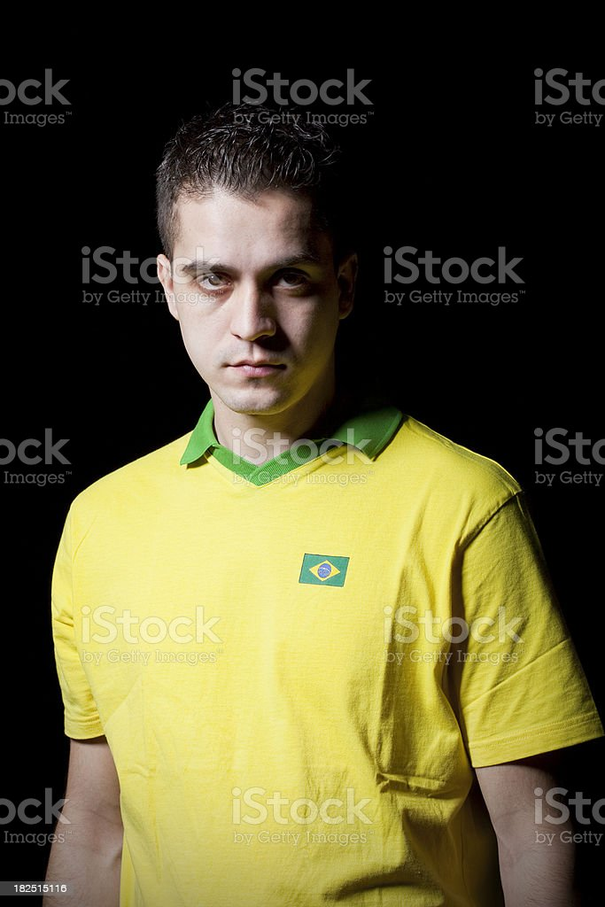 Soccer player in Brazil dress royalty-free stock photo