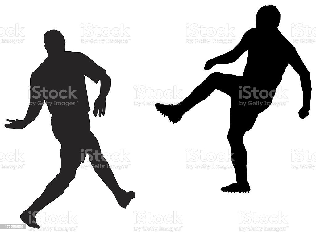 soccer player kick , Raster Silhouette royalty-free stock photo