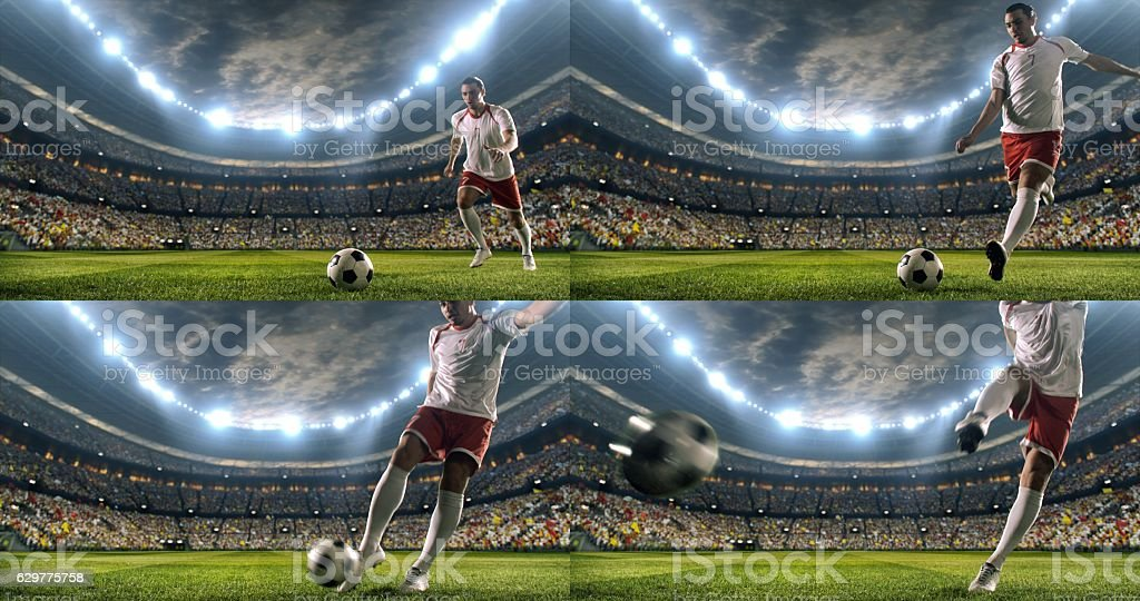 Soccer player makes a dramatic play stock photo