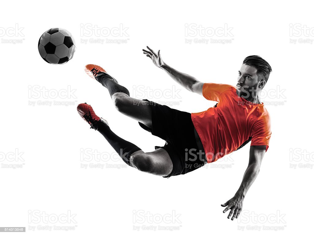 Soccer player Man Isolated silhouette stock photo