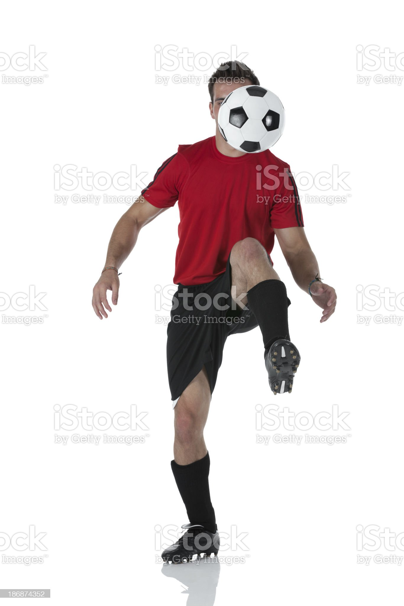 Soccer player practicing royalty-free stock photo
