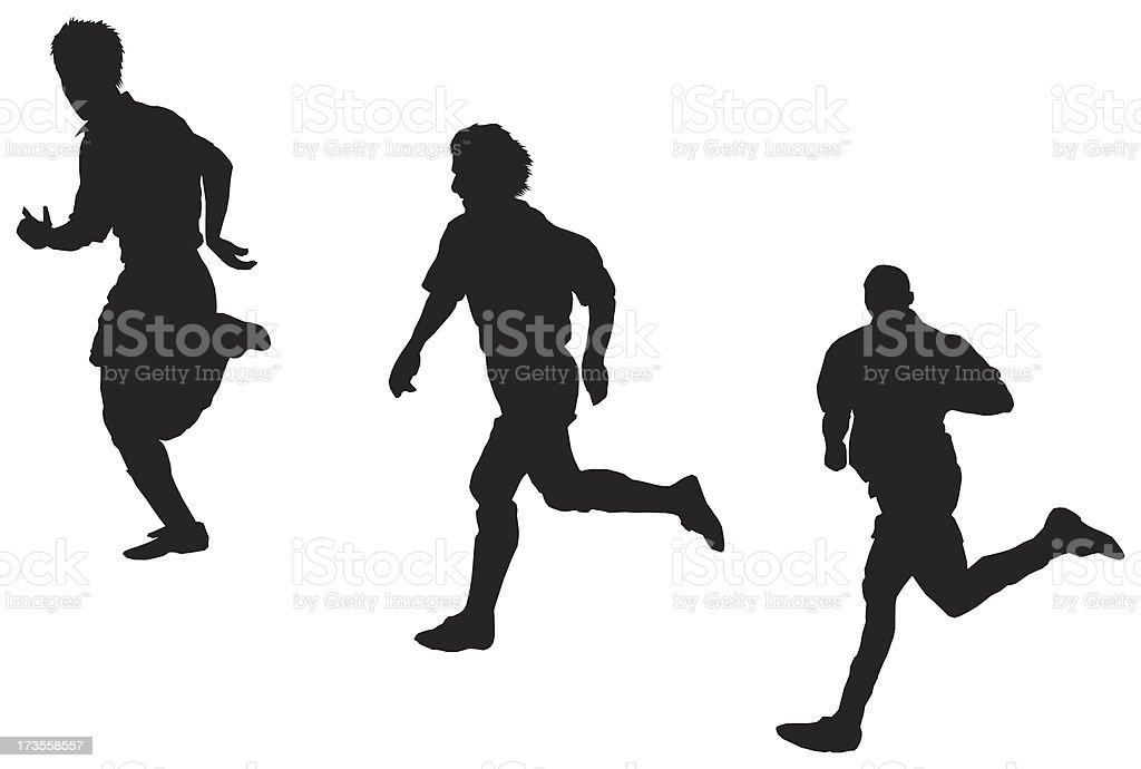 soccer player running , Raster Silhouette royalty-free stock photo