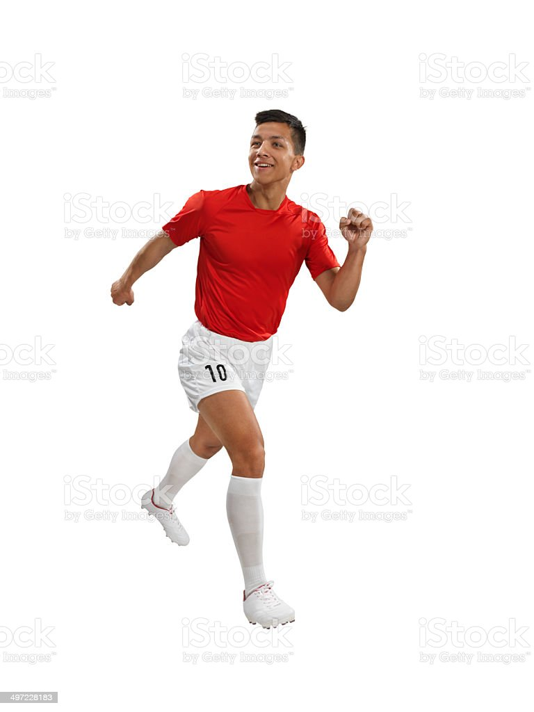 Soccer player running with smile royalty-free stock photo