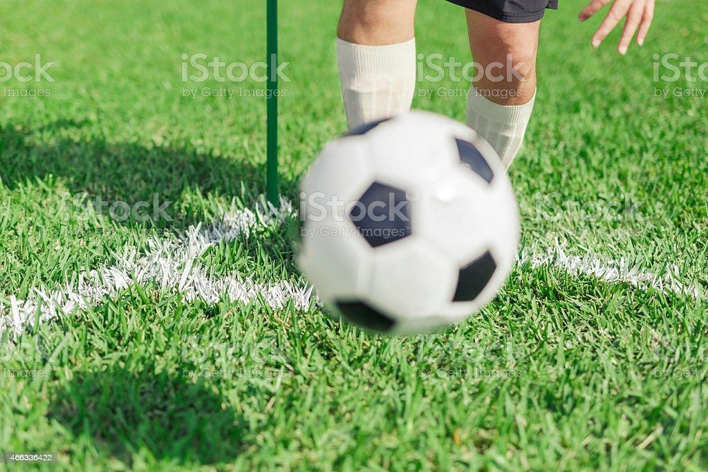 Soccer Player Taking a Corner stock photo