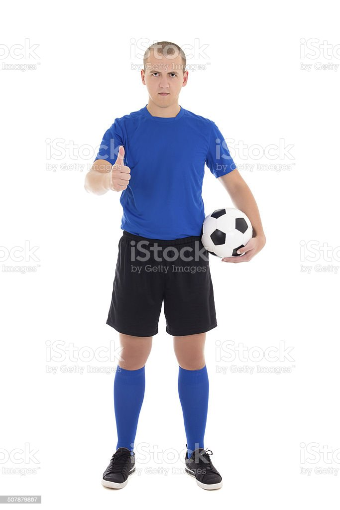 soccer player with a ball thumbs up on white background stock photo