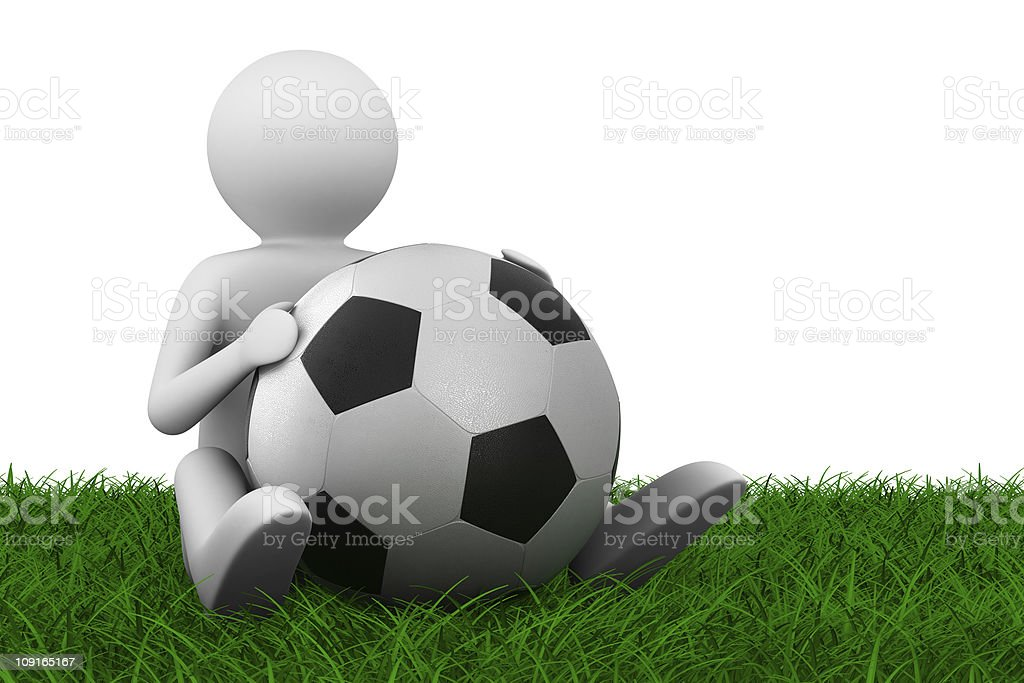 soccer player with ball on grass. Isolated 3D image royalty-free stock photo