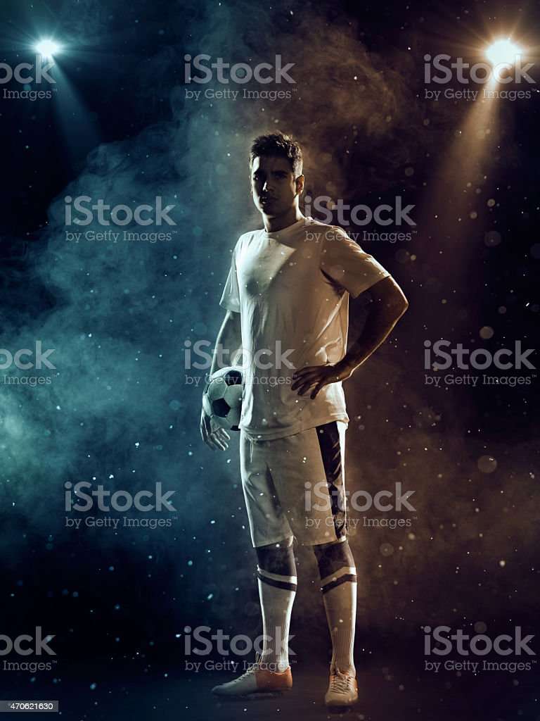 Soccer Player with ball stock photo
