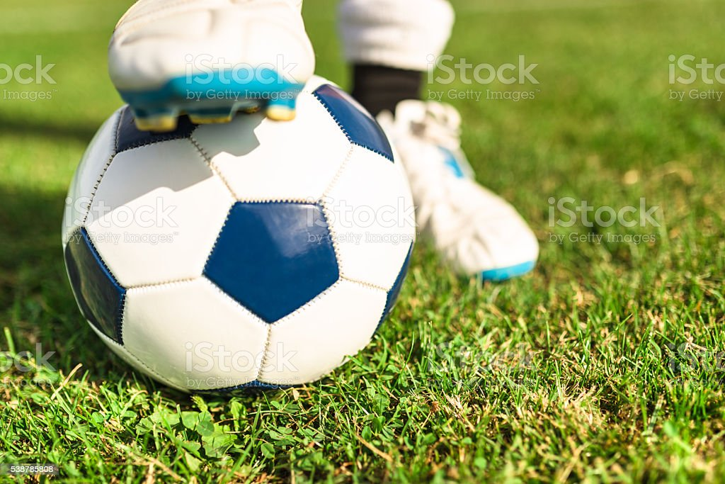 soccer player with his ball stock photo