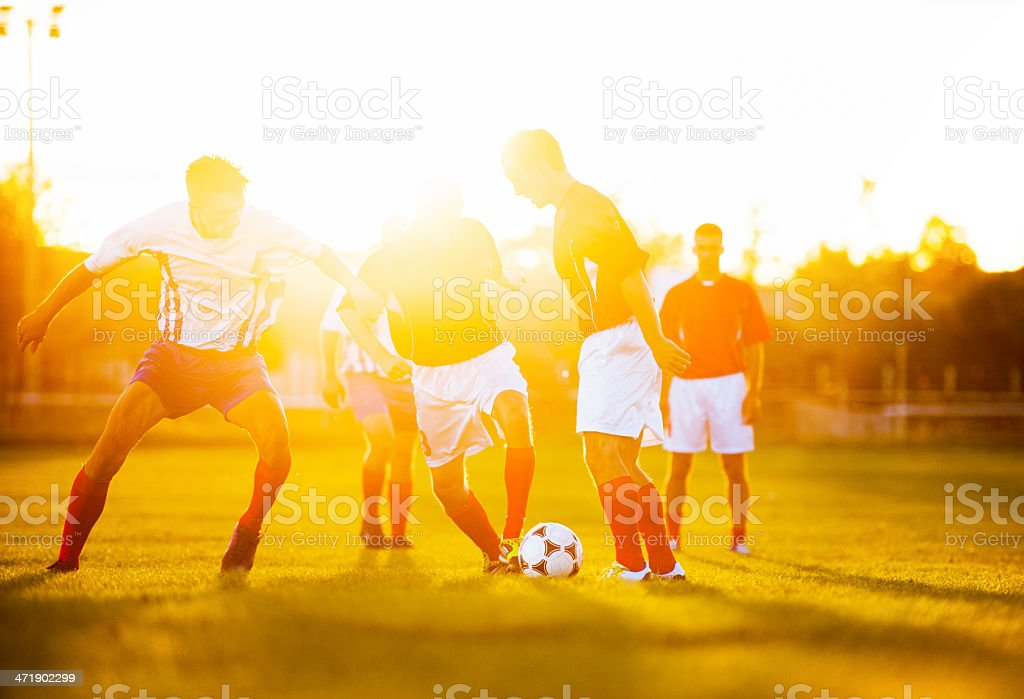 Soccer players in action at sunset. royalty-free stock photo