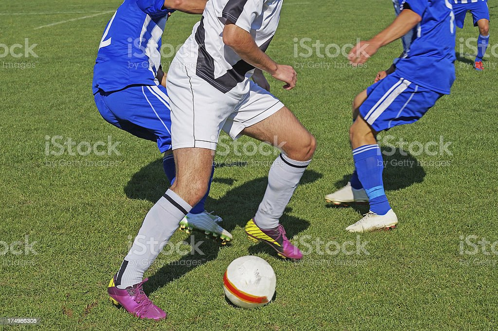Soccer players in action royalty-free stock photo