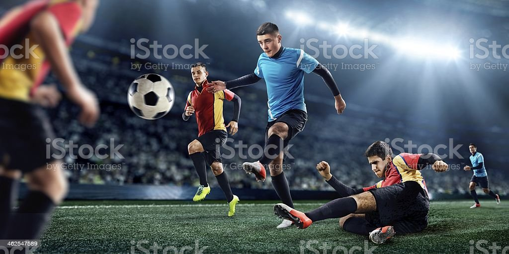Soccer players in stadium royalty-free stock photo