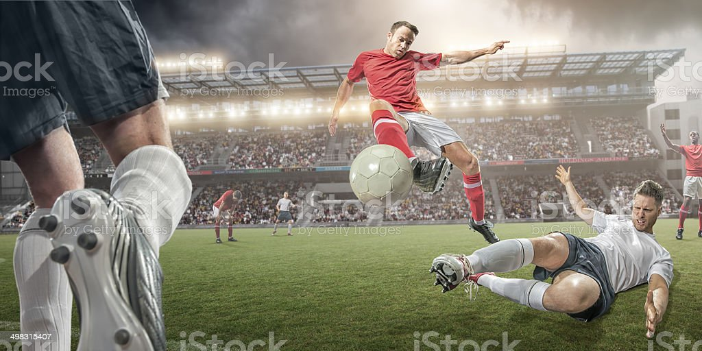Soccer Players Mid Air Action stock photo