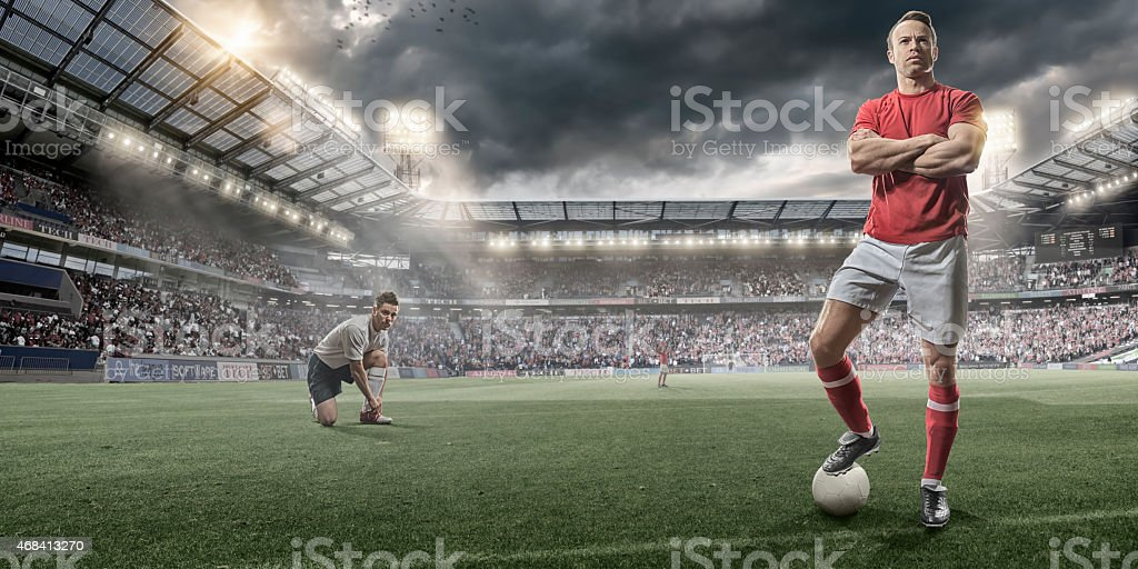 Soccer Players on Pitch Before Game stock photo