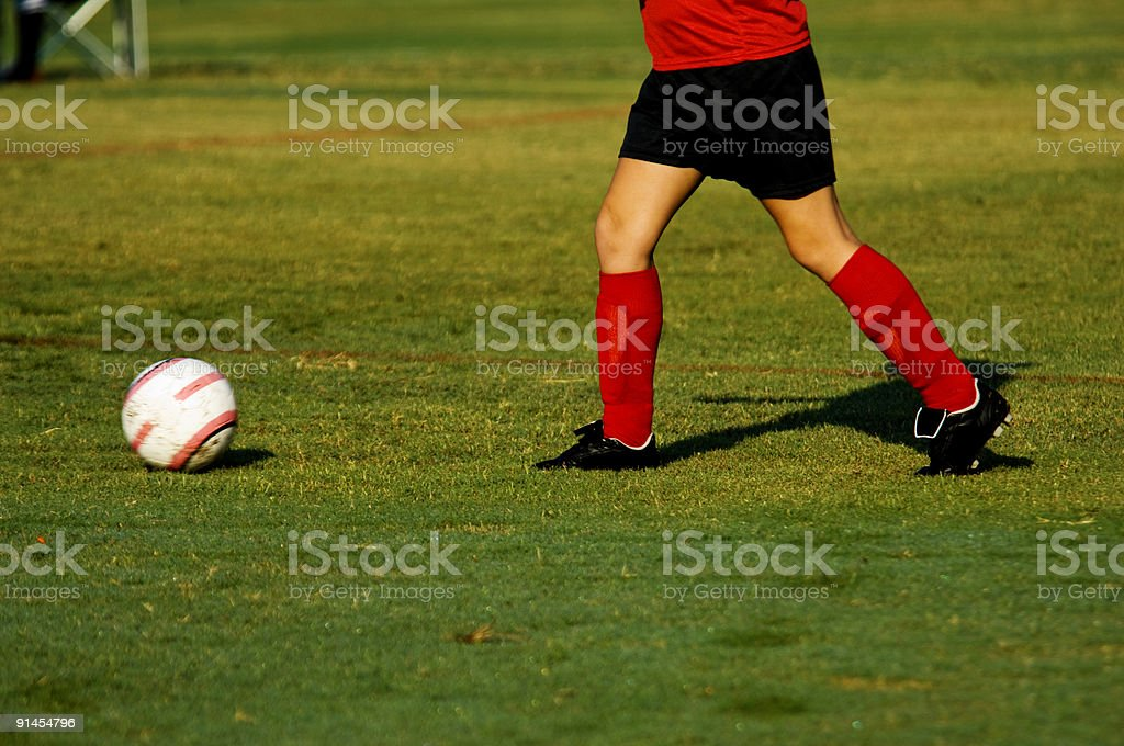 Soccer Players playing Soccer on Soccer Field with Soccer Ball royalty-free stock photo