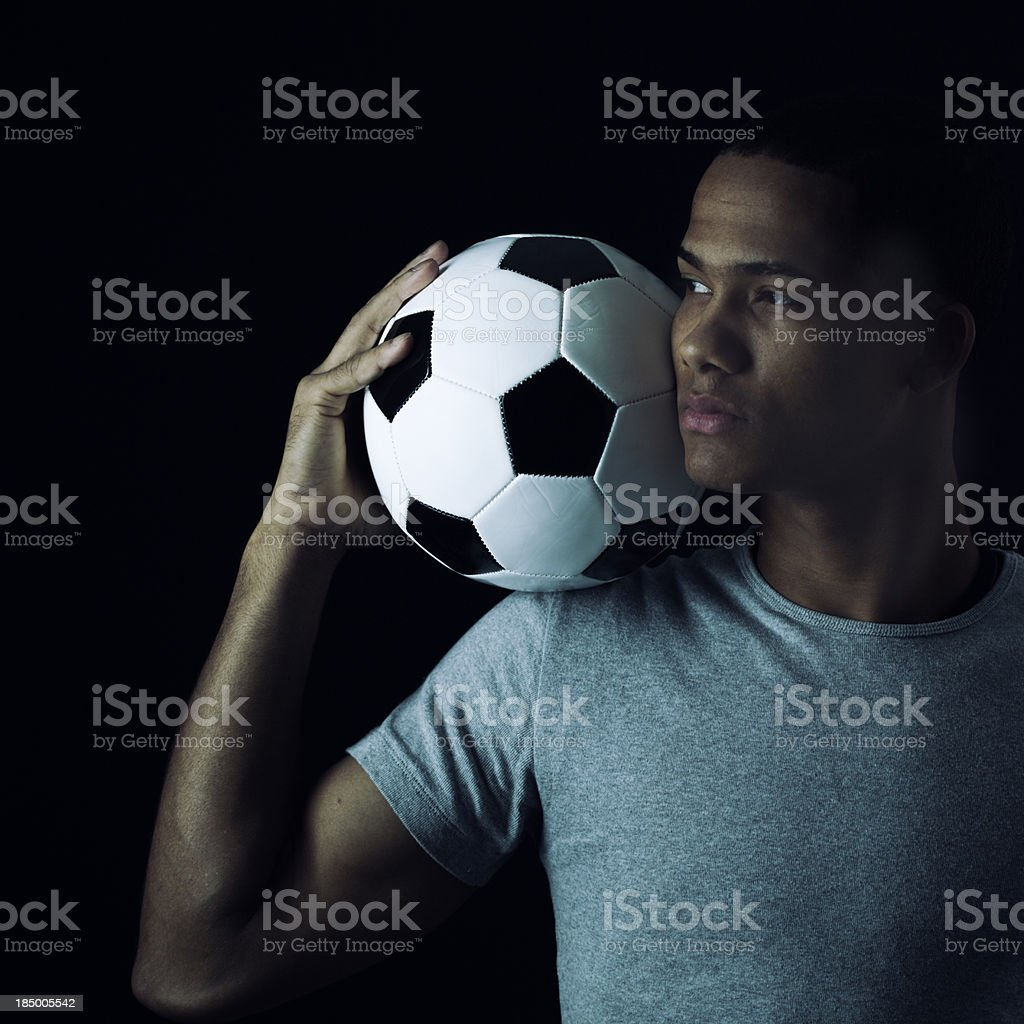 Soccer player's portrait _ square royalty-free stock photo