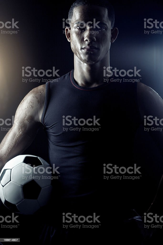 Soccer player's portrait _ vertical royalty-free stock photo