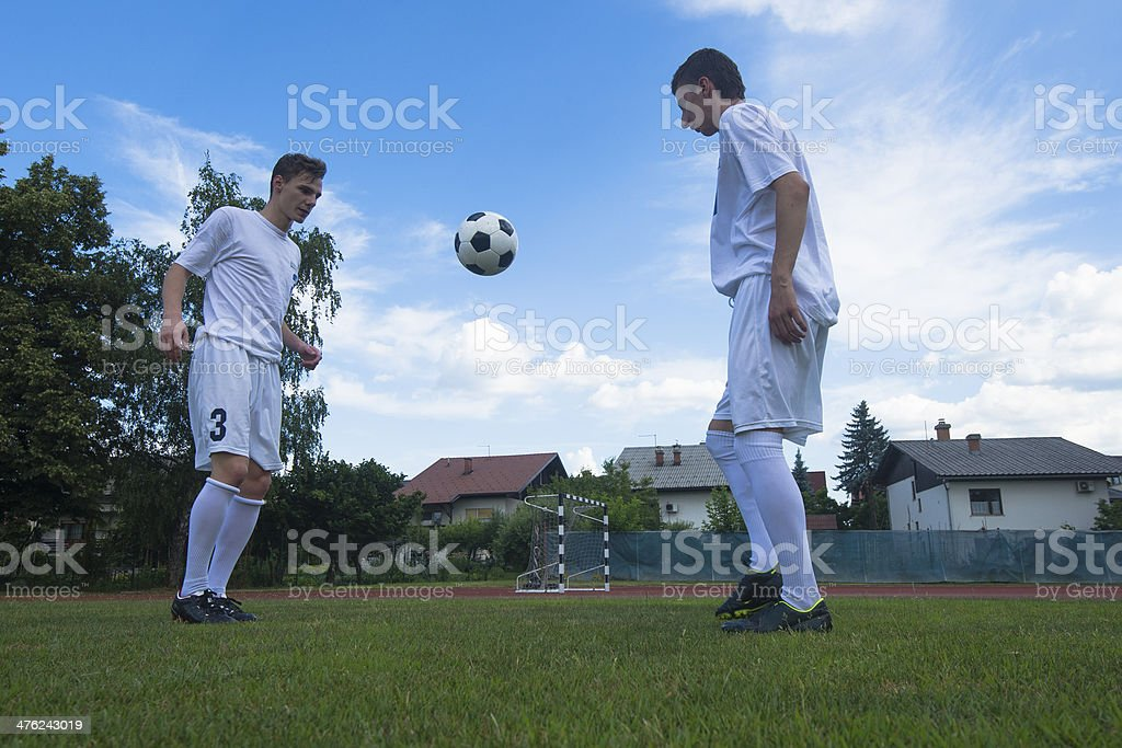 Soccer players practicing stock photo