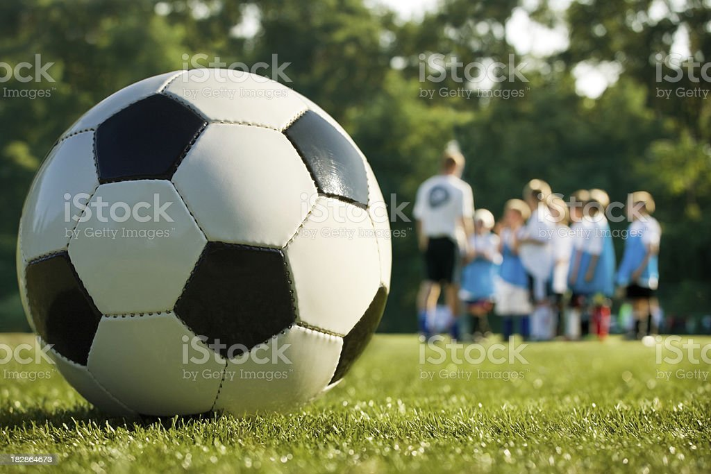 soccer practice with coach royalty-free stock photo