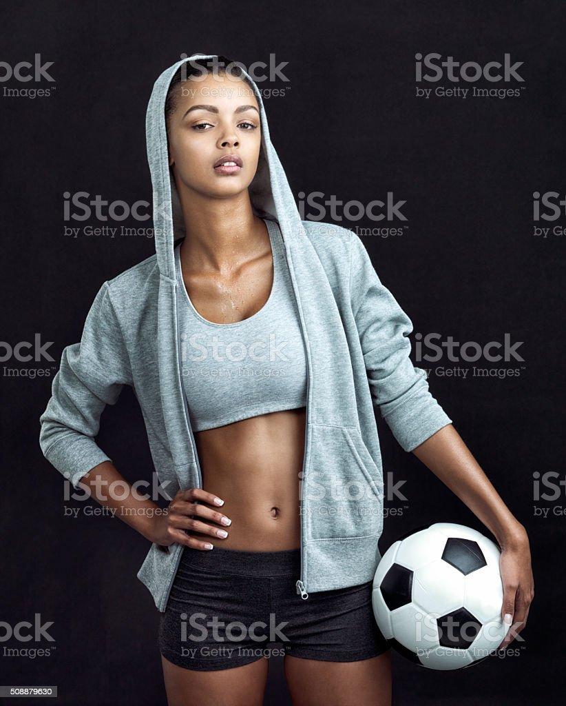 Soccer queen stock photo