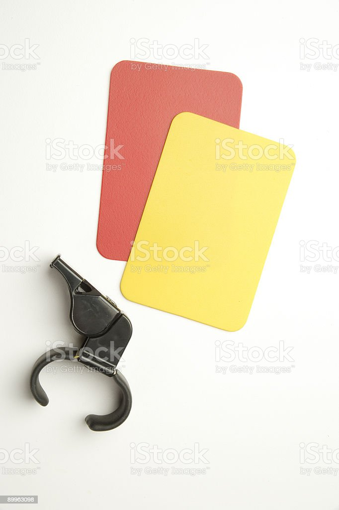 Soccer red and yellow cards stock photo