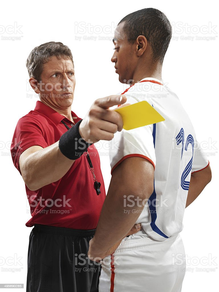 Soccer referee and player isolated royalty-free stock photo