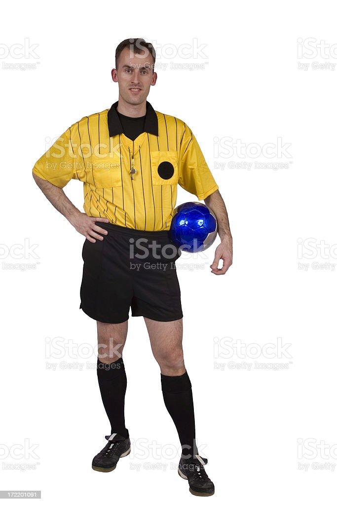 Soccer referee holding ball full body royalty-free stock photo