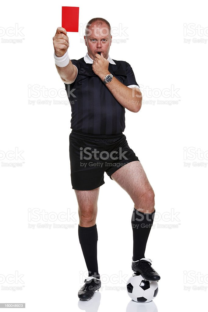 Soccer referee isolated on white background stock photo