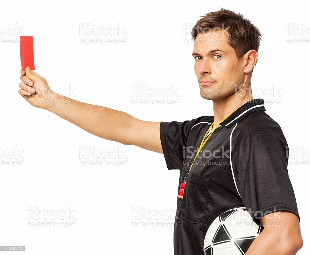 Soccer Referee Showing Red Card While Holding Ball stock photo